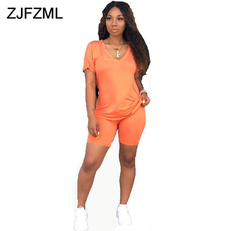 >Neon Orange Casual Two Piece Set Sexy Club <font><b>Outfits</b></font> Women V Neck <font><b>Short</b></font> Sleeve T Shirt And <font><b>Biker</b></font> <font><b>Shorts</b></font> Sweat Suits Matching Sets