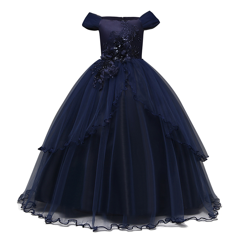 2019 Girls Summer Dress Embroidery Bridesmaid Princess Dress Kids Dresses For Girls Children Party Wedding Dress 10 12 14 Years 7