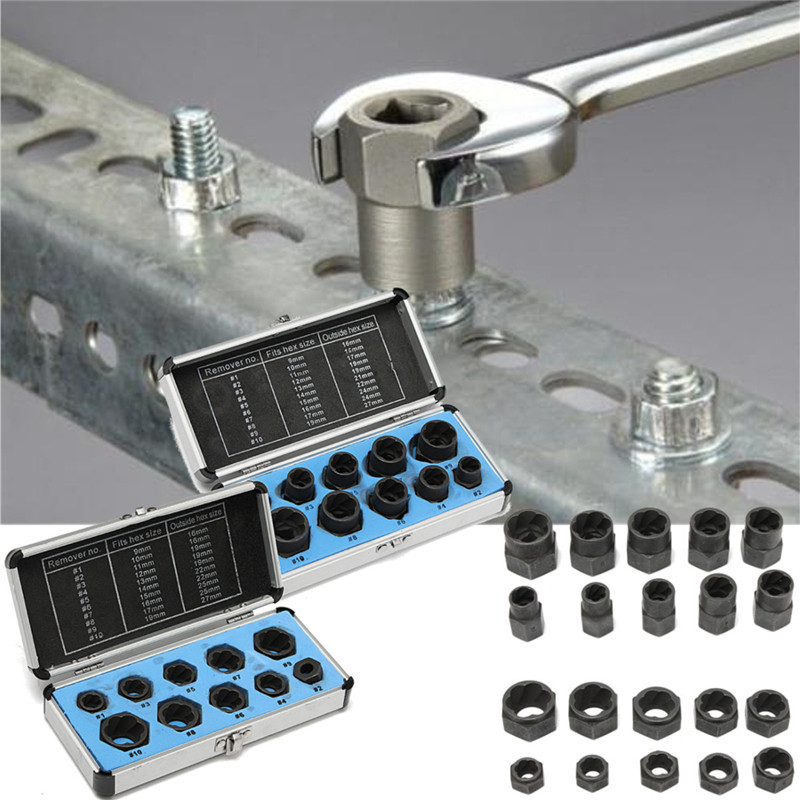 10pcs/Set Damaged Bolts Nuts Black Nuts Screws Remover Extractor Removal Tools Set Threading Tool Kit With 2 Styles