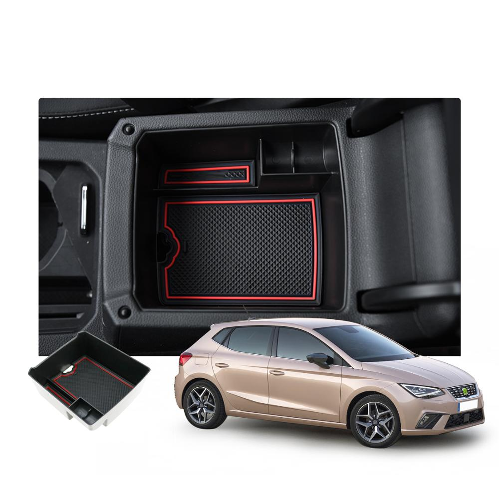 RUIYA Car Central Control Armrest Storage Box For SEAT Ibiza/SEAT Arona SUV Stowing Tidying Auto Interior Decoration Accessories