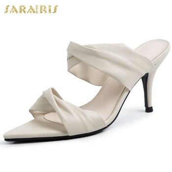 Sarairis Top Quality Sale Luxury Design Thin High Heels Summer Skin Insole Sandals Mules Pumps women's Shoes Woman
