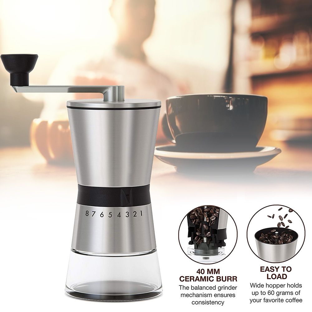 Easy Clean Kitchen Eco Friendly Home Portable Hand Crank Coffee Grinder Large Capacity Adjustable Stainless Steel Manual