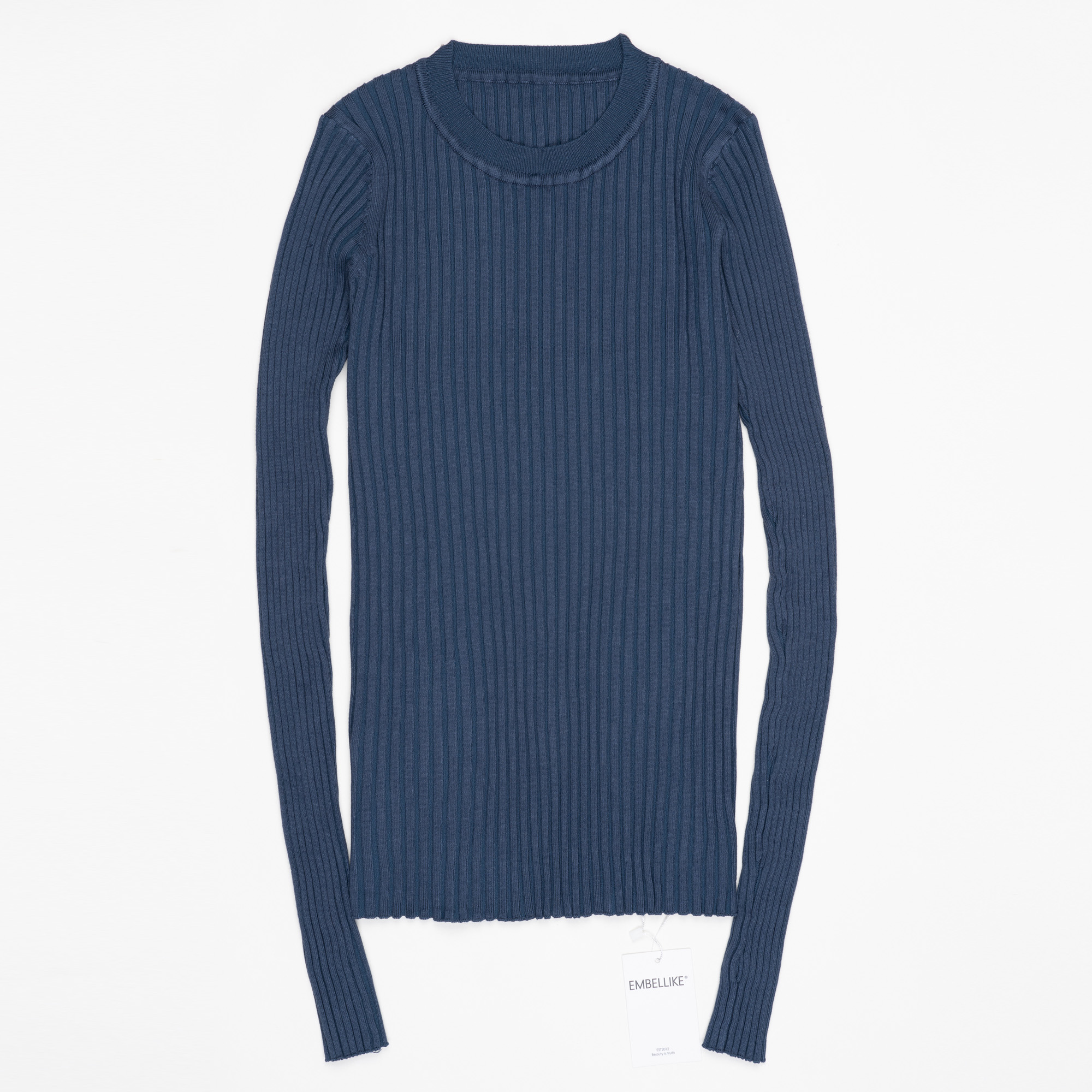 Women Sweater Pullover Basic Ribbed Sweaters Cotton Tops Knitted Solid Crew Neck With Thumb Hole 21