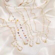 Женская цепочка для очков, винтажная цепочка-держатель для очков с кристаллами и жемчугом, корейский стиль, ювелирные аксессуары