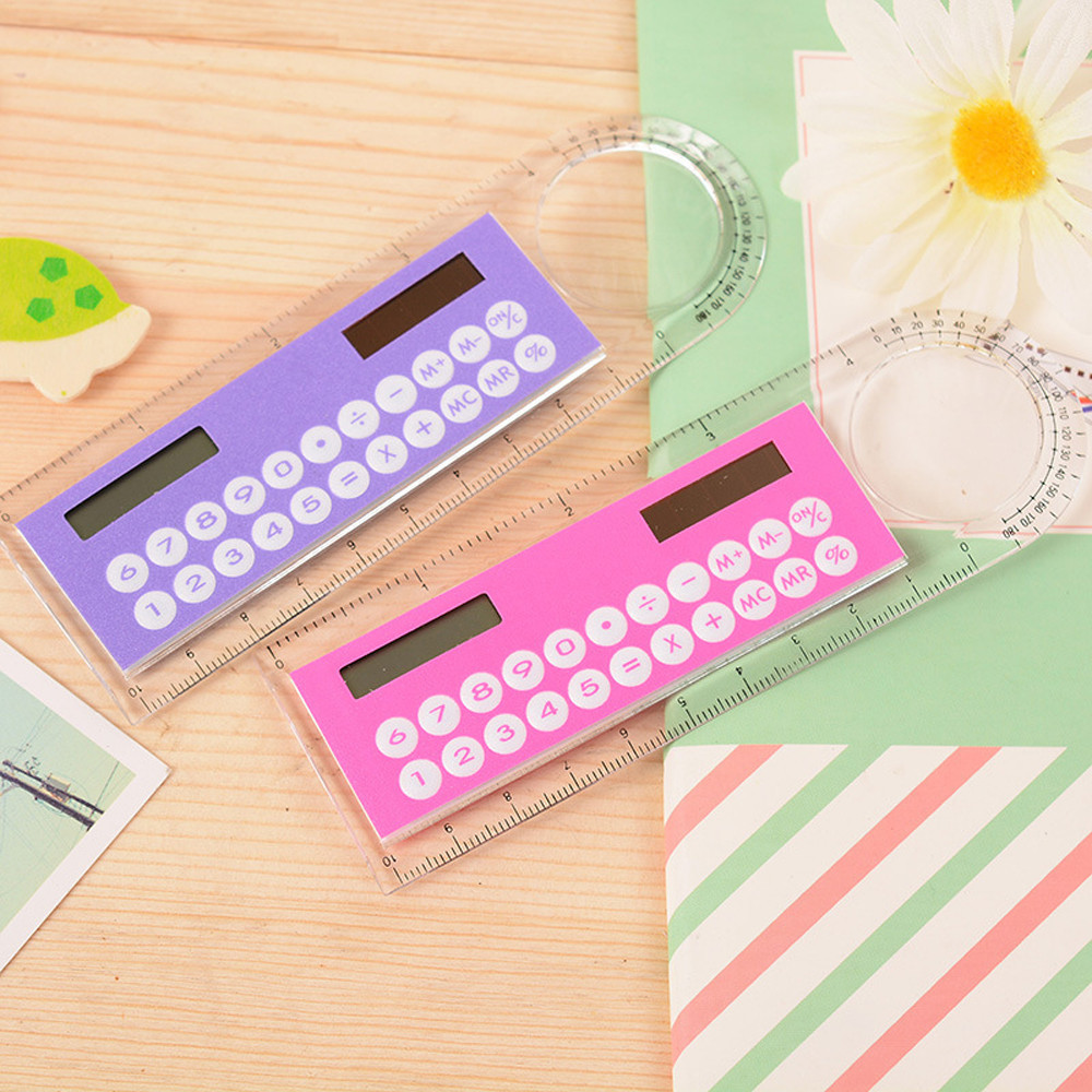 South Korea Creative Small Fresh Ruler Calculator Mini Student Office Solar Energy Simple Dual-use Cute Calculator