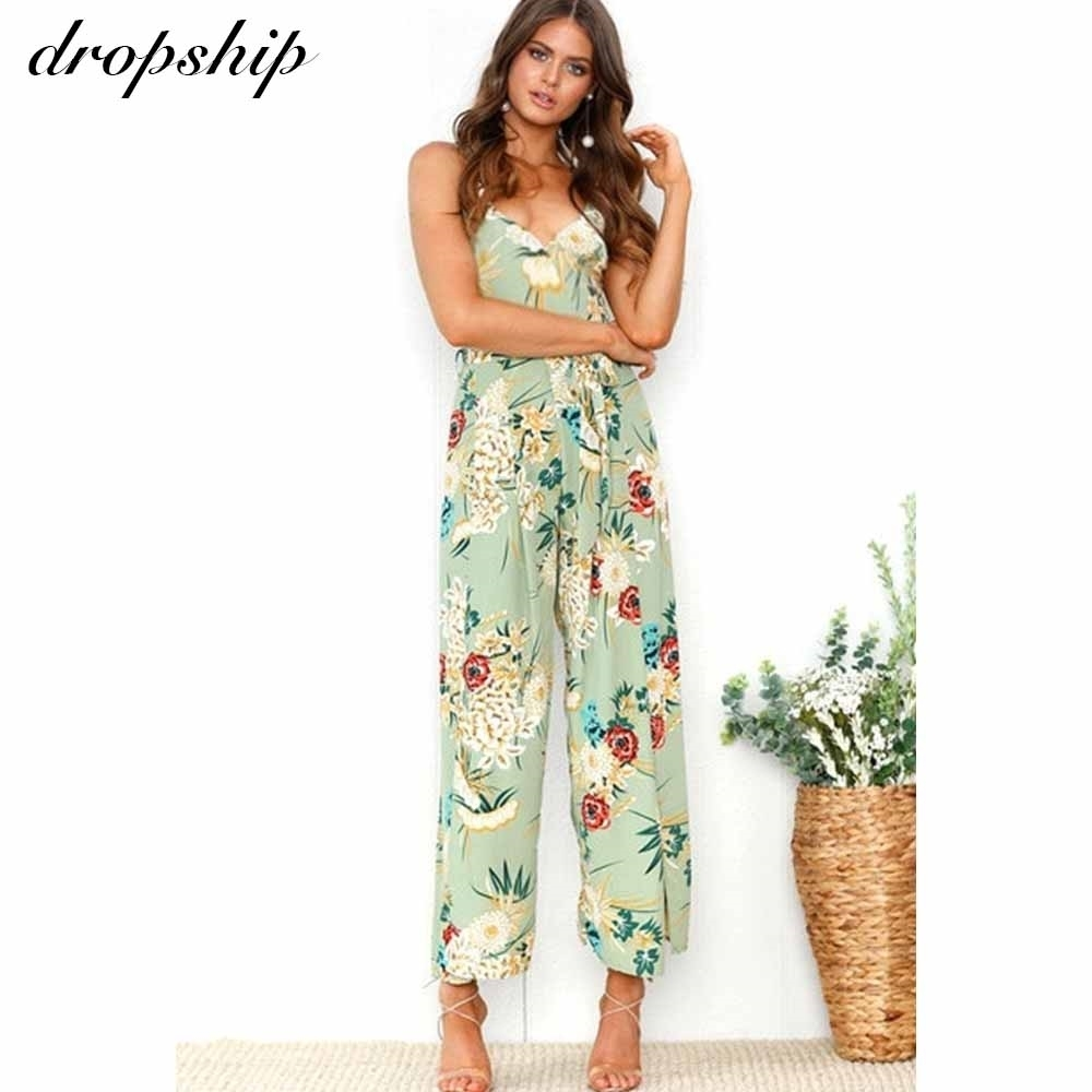 Dropship Summer Jumpsuits For Women 2020 Sexy Party Off Shoulder Casual Overalls Women Floral Print Jumpsuit Bodycon Playsuit