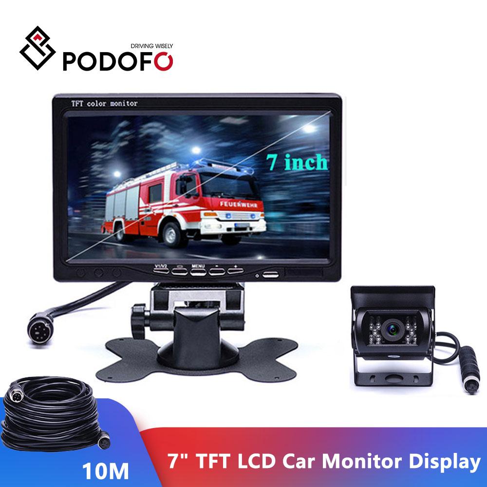 """Podofo 7 """"TFT 液晶カーモニター表示 + 4pin 赤外線ナイトビジョントラック RV キャラバントレーラーキャンパー 12 V 24 V  グループ上の 自動車 &バイク からの 車 モニター の中 1"""