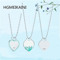 HGMEIKAINI 925% pure silver 2 mm round bead necklace in Europe and the original green enamel pendant lady love gift