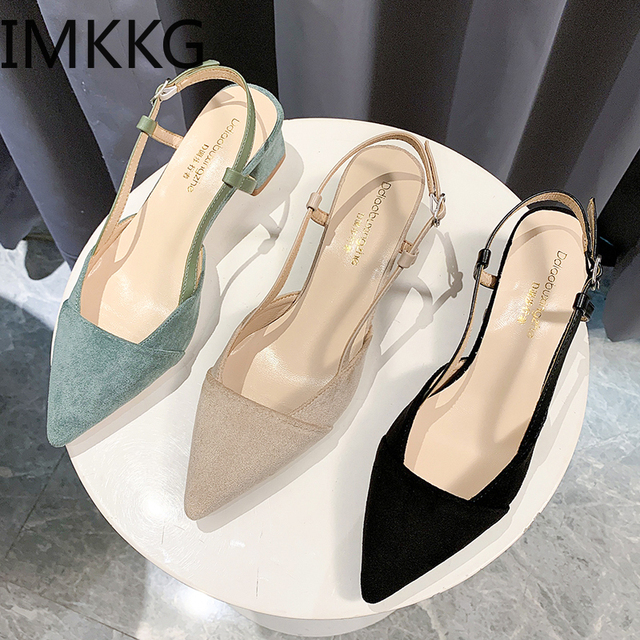 2020 new fashion summer women pumps woman buckle beige single shoes square heels comfortable dress party shoes zapatos de mujer 1