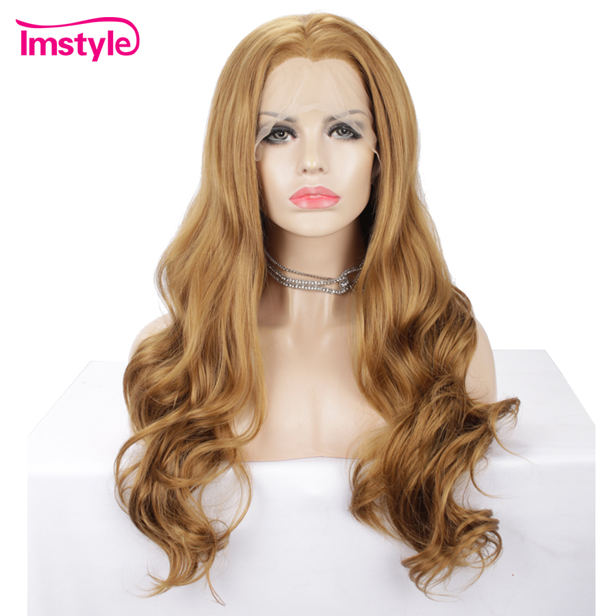 Imstyle Blonde Gold Wig Wavy Synthetic Lace Front Wig Heat Resistant Fiber Natural Hairline Free Parting Wigs For Women Cosplay