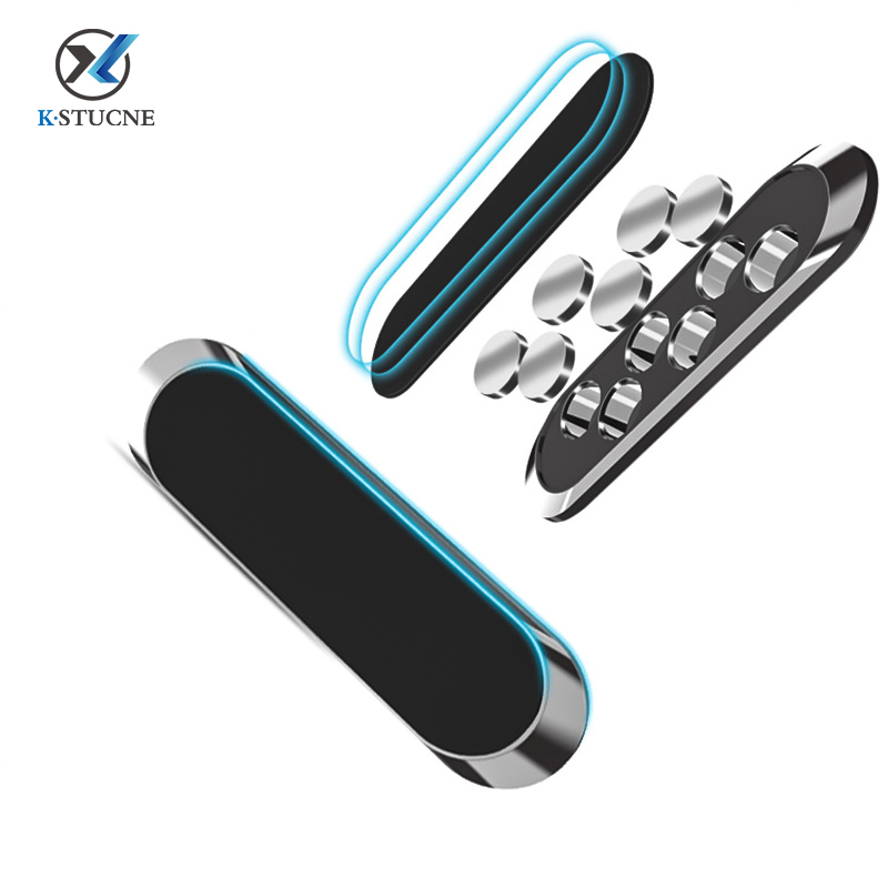 KSTUCNE Car Phone Holder Mini Strip Shape Magnetic Stand For IPhone Samsung Xiaomi Wall Metal Magnet Car Mount Dashboard Stand