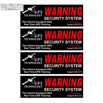 Volkrays 4 X Funny Car Sticker Gps Warning Security System Accessories Reflective PVC Decal for Volvo Honda Civic Skoda,3cm*10cm image