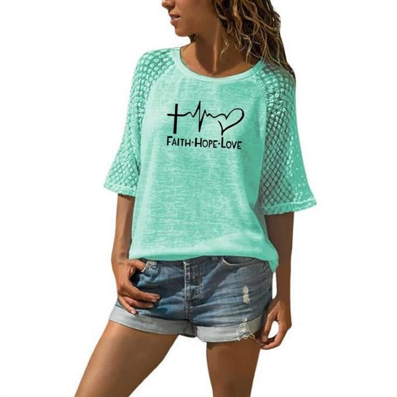 Faith Hope Love Letters Printed T-Shirt For Women Lace Crew Neck T-Shirt Top T-Shirt 15