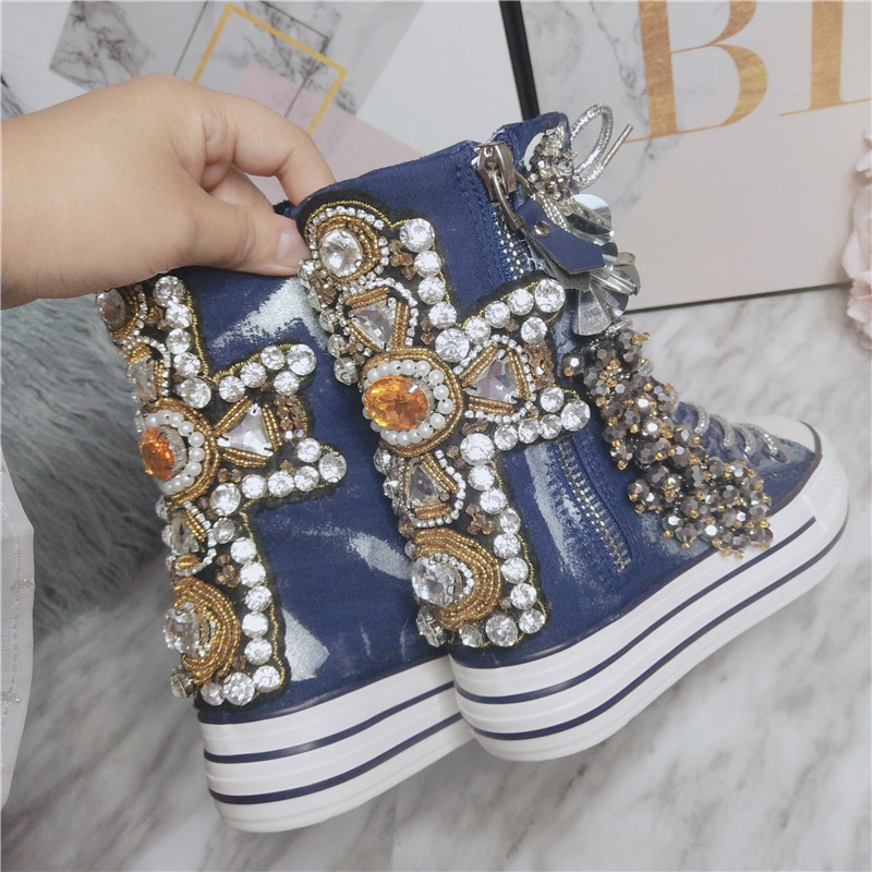 JELLYFOND Women Canvas Shoes Flat Sneakers Women Casual Shoes High Tops Lace Up Crystal Bling Shoes