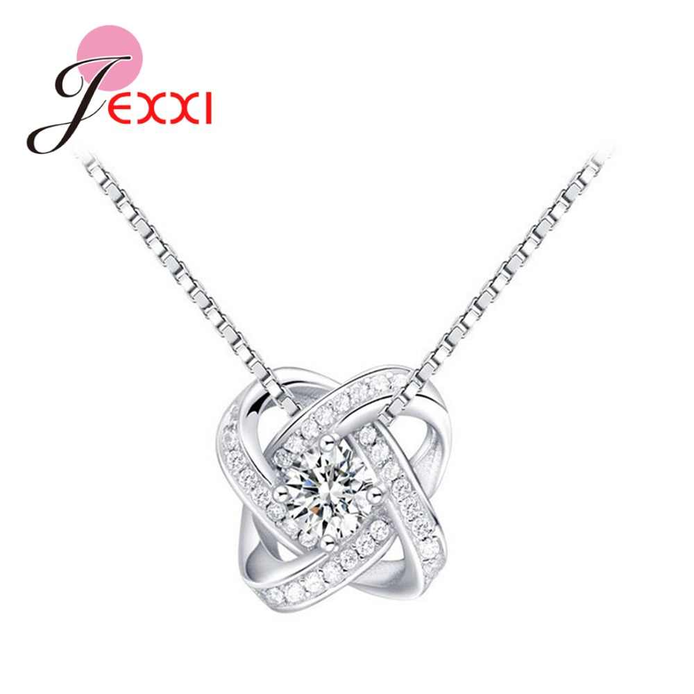 New Classic Women Inlay Clear CZ Eternal Heart Necklace Jewelry 925 Sterling Silver Cross For Women Cubic Necklace Mother's Day