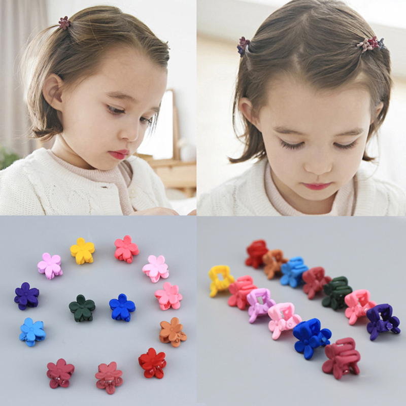 10 Pcs New Fashion Baby Girls Small Hair Claw Cute Candy Color Flower Jaw Clip Children Hairpin Hair Accessories DropShip