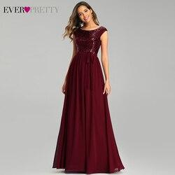 Бордовые вечерние платья Ever Pretty EP00659BD A-Line с О-образным вырезом без рукавов с бантом и поясом, расшитые блестками Сексуальная Вечерние платья...