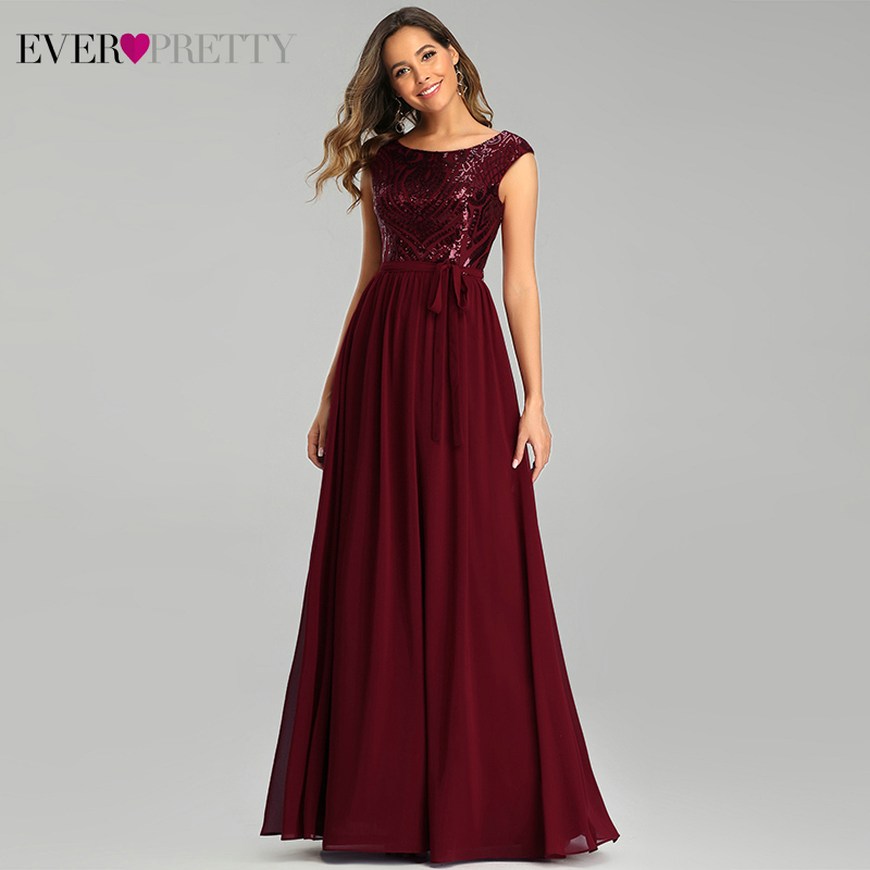 Burgundy   Evening     Dresses   Ever Pretty EP00659BD A-Line O-Neck Sleeveless Bow Sashes Sequined Sexy Party Gowns Robe De Soiree 2020