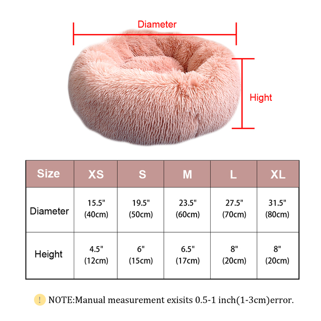 Fluffy Calming Dog Bed Long Plush Donut Pet Bed Hondenmand Round Orthopedic Lounger Sleeping Bag Kennel Cat Puppy Sofa Bed House 6