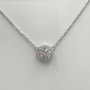 Image 5 - Poetry Of Jew Store Round Silver Moissanite Pendants 1ct D VVS Luxury Moissanite Weding Pendants for Women