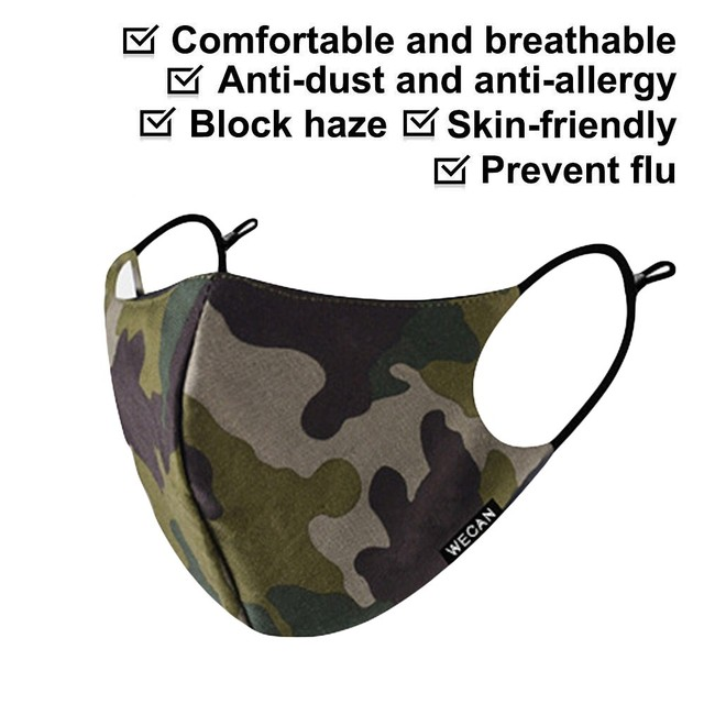 Outdoor Reusable Protective Pm2.5 Filter Camouflage Mouth Mask Dust Face Mask Windproof Mouth-muffle Bacteria Proof Flu Mask AP4 5