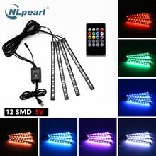 NLpearl 4pcs Music Control Car Decorative Lamp USB Led Strip 12V 5V RGB 5050 SMD lampada per atmosfera interna impermeabile con telecomando