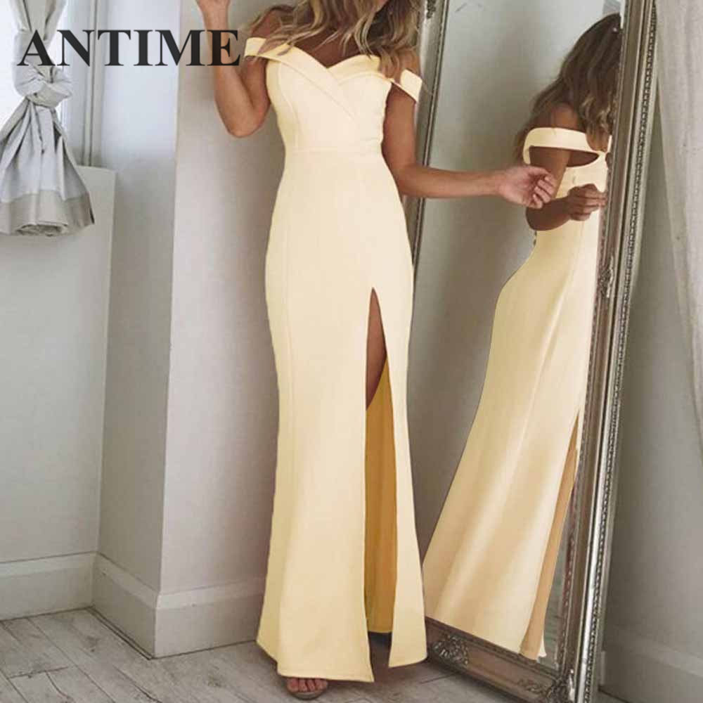 ANTIME Maxi Split Party Dress Women Casual Deep V Neck Spring Summer Short Sleeve Solid A Line Long Elegant White Sexy Dresses