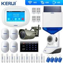 Kerui k52 tela sensível ao toque wi fi gsm sistema de alarme segurança em casa inteligente porta lembrete aberto câmera ip wi fi sirene solar