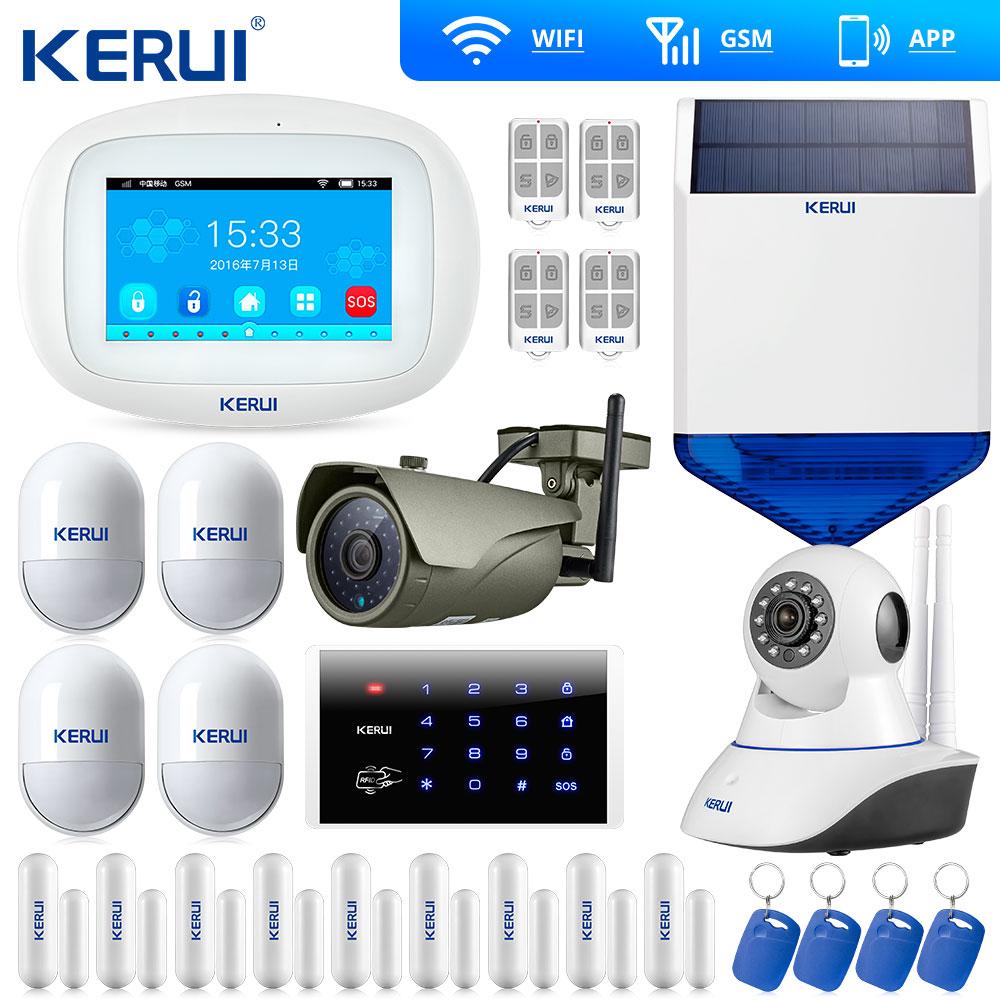Kerui-système d'alarme intelligent | Écran tactile, K52, WIFI GSM, alarme de sécurité, pour la maison, notification d'ouverture des portes, caméra IP Wifi, sirène solaire