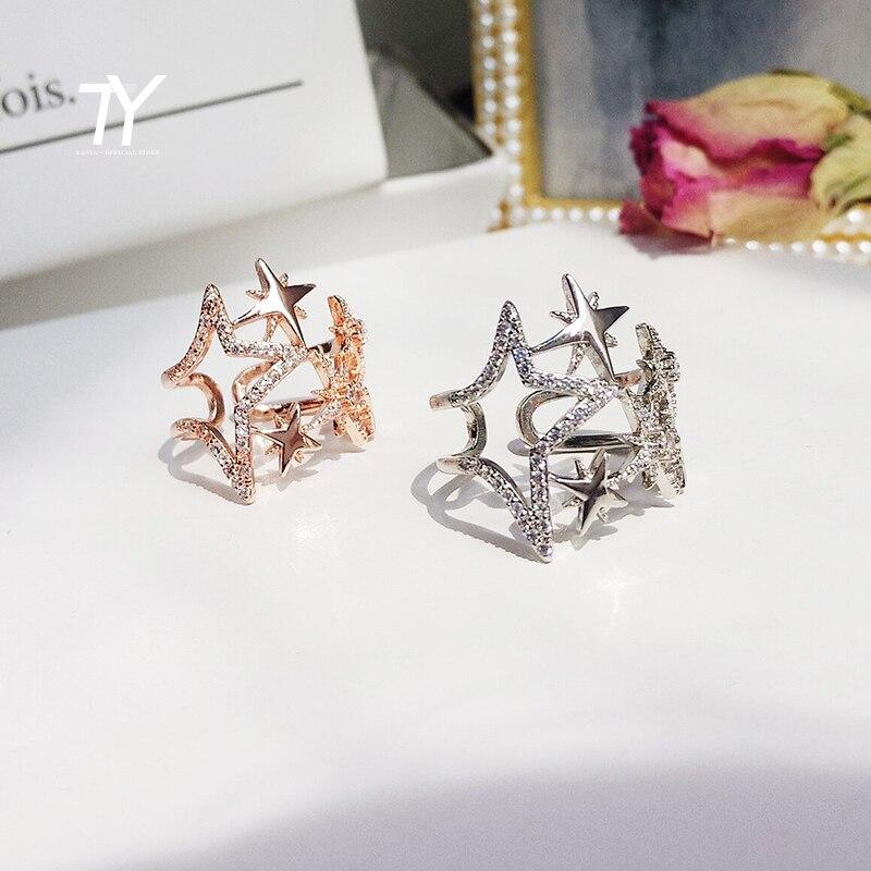 Новинка 2020, роскошные открытые кольца в Корейском стиле в форме звезды с цирконом, ювелирные изделия для свадьбы, праздничные сексуальные Н...