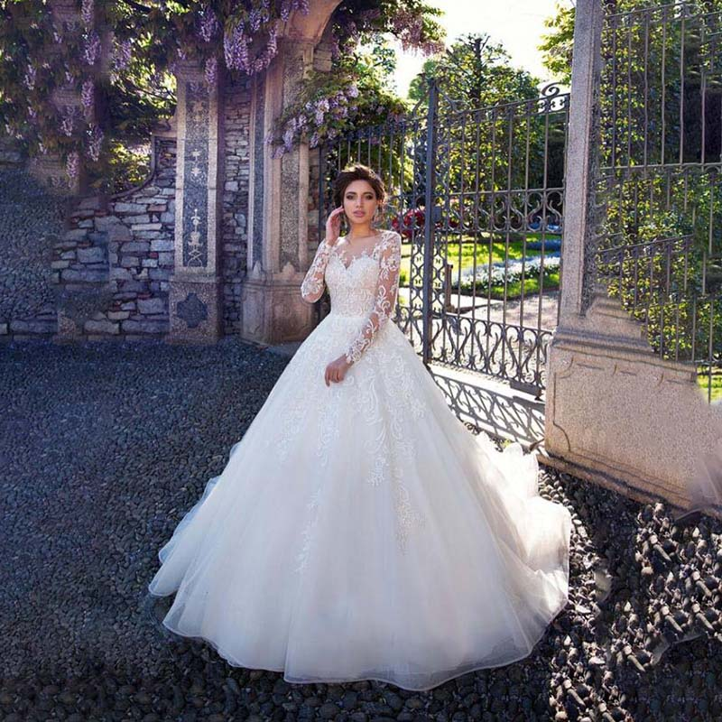 2020 MYYBLE Wedding Dress New Ball Gown Wedding Dress Button Long Sleeves Appliques Pattern Customer Made Size Vestido De Novia