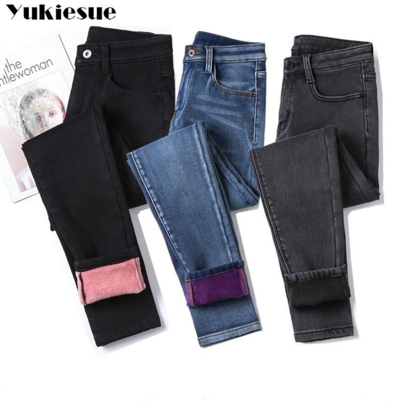 Warm Jeans Pantalon Ladies Trousers Velvet Female High-Waist Winter Plus-Size Casual