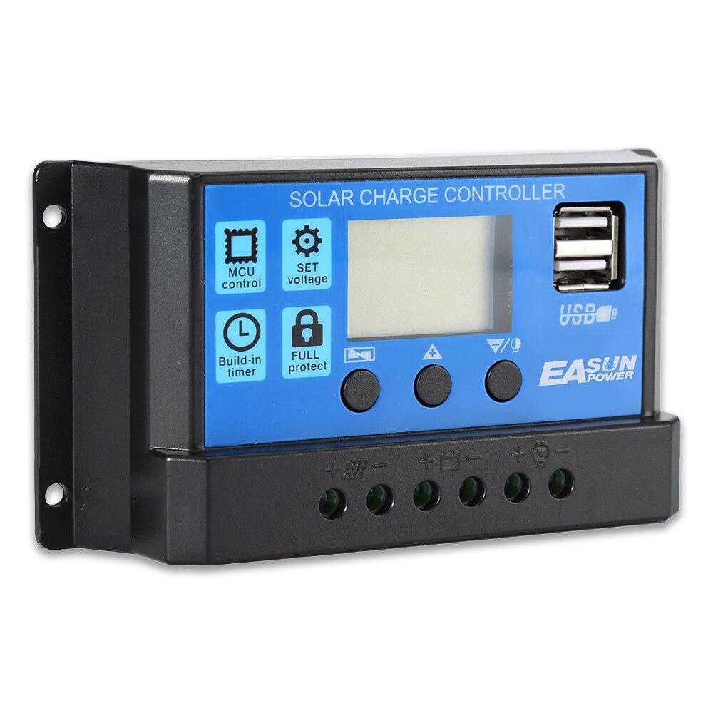 10A 20A 30A за максимальной точкой мощности, Солнечный Контроллер заряда 12V 24V режимы Auto, PWM ЖК-дисплей Dual USB 5V Выход солнечных батарей Панель регулятор фотоэлектрических домашних Батарея Зарядное устройство