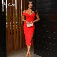2020 Autumn New Women'S Fashion Sexy Red Spaghetti V-Neck Split Midi Bandage Dress