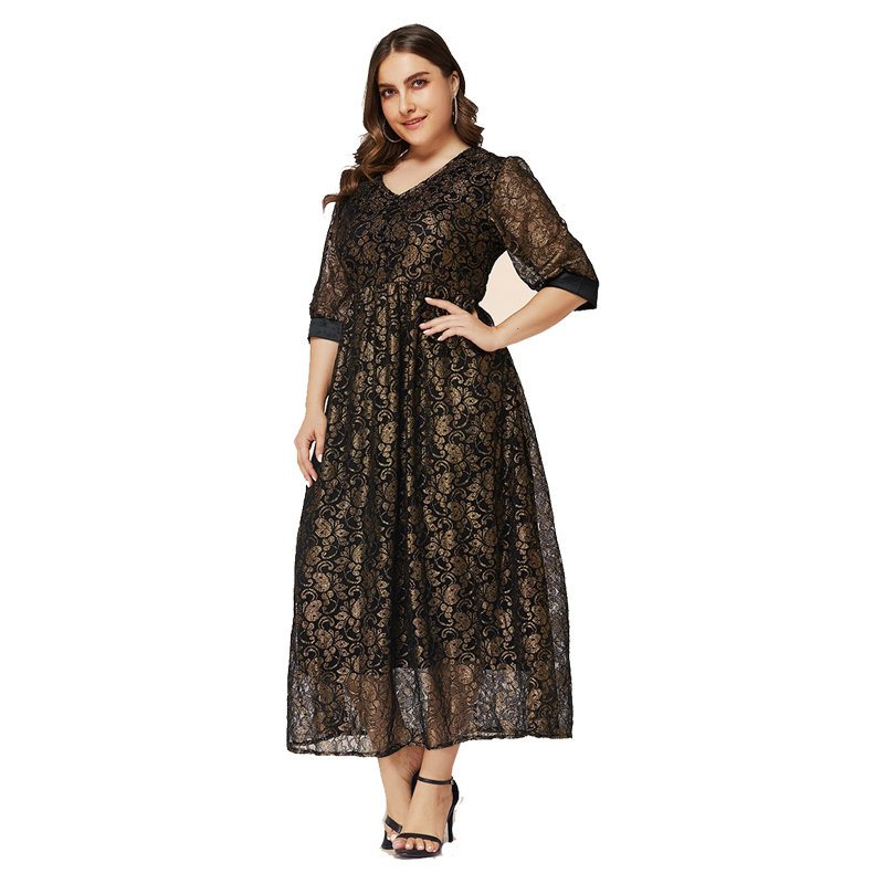 <font><b>5XL</b></font> 6XL Muslim maxi <font><b>dress</b></font> Plus size women floral long <font><b>dress</b></font> black white A-Line evening party large size lace <font><b>dress</b></font> winter 2019 image