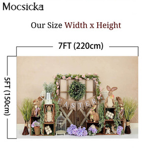 Image 4 - Mocsick Spring Easter Garden Photography Backdrops Bunny Flowers Decorations Children Photo Booth Background For Photo Studio