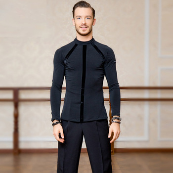 Autumn Winter Men'S Ballroom Latin Dance Tops Black Long Sleeves Latino Dancing Clothes For Male Ballroom Practice Wear DL5231