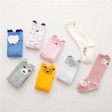 Cute Cartoon Cotton 1~4 Years Baby Animals Ear Tube Korean Version Non-slip Floor Socks Cat Bear Letters Children Stereo