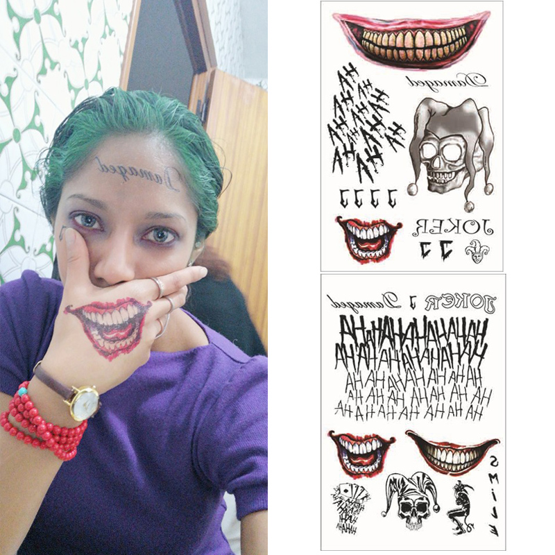 Suicide Squad The Joker Brooch Temporary Tattoos Sticker Cosplay Props Waterproof Unisex Halloween Stephen King's It Accessories