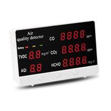 Air Quality Analyzer Monitor USB Carbon Dioxide Multifunctional Digital Display High Accuracy CO CO2 HCHO TVOC Detector