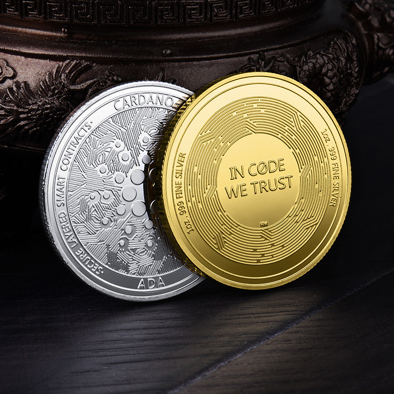 FLC 1pc Gold or Silver Ada Cardano Crypto Coin Cryptocurrency Great Gift Silver Coin Art Collection Physical Commemorative Coin