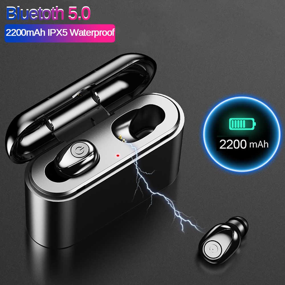 X8 Bluetooth TWS bezprzewodowe słuchawki douszne 6D Stereo prawdziwe słuchawki Mini TWS wodoodporne Headfrees z 2200mAh Power Bank słuchawki