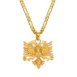 Мужские и женские ожерелья с подвеской Anniyo Albania Eagle, золотые украшения в этническом стиле, #233406