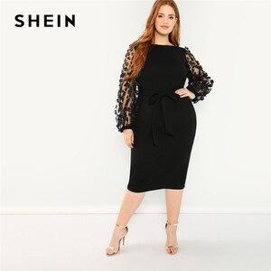 Image 3 - SHEIN grande taille 3D Appliques maille manches ceinturée crayon Dres 2019 femmes romantique élégant évêque manches taille haute robes
