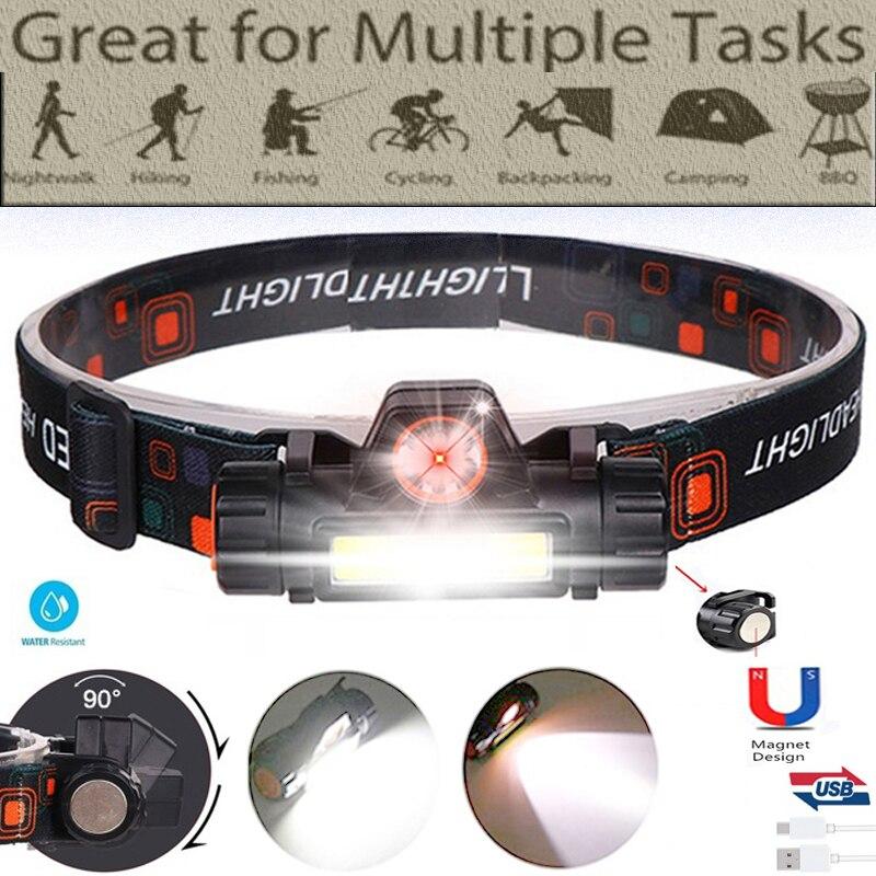 2 Led COB Head Lamp Car Inspect Light Led Head Lamp Head Flashlight USB Rechargeable Headlamp USB Magnet Work Light Head Torch