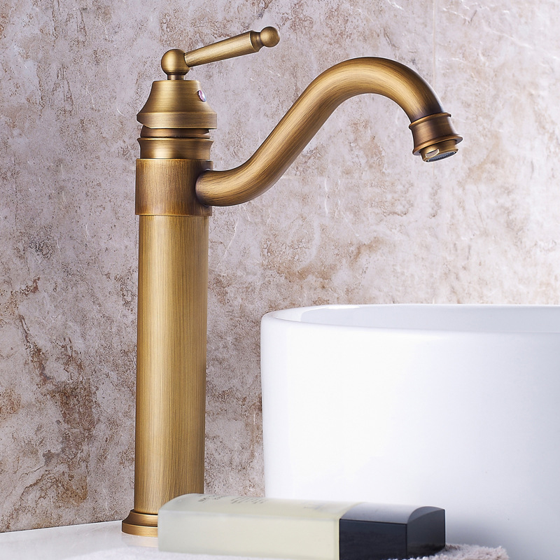 Antique Brass Bathroom Basin Faucet Single Handle Vintage Bronze  High Old Retro Faucets Hot Cold Bath Mixer Water Washbasin Tap