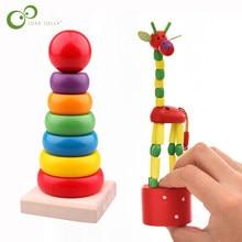 De Madera jirafa de dibujos animados marioneta de juguete bailando Torre del arco iris colorido Arco Iris Jenga juguete educativo LXX
