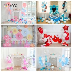 Laeacco 1st 2nd 3rd Birthday Photophone Paper Flowers Umbrella Party Decor Photography Backdrops Baby Portrait Photo Backgrounds