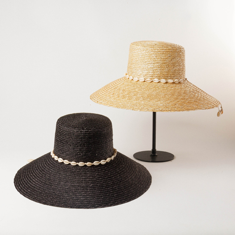 Spring and summer new shell chain decoration flat hat brimmed straw straw hat outdoor sun hat
