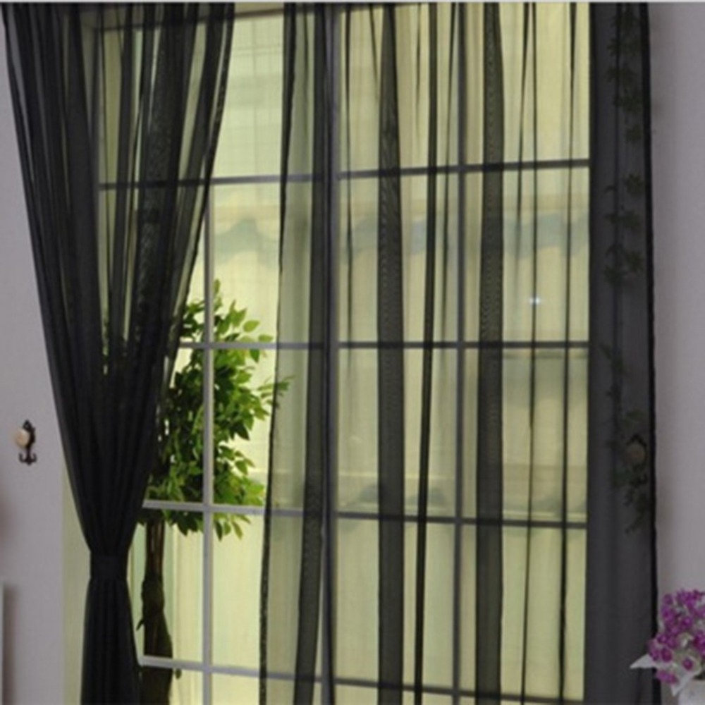 Fashion Simple Solid Colors Tulle Door Window Curtain Washable Drape Panel Sheer Scarf Valances Translucent Design